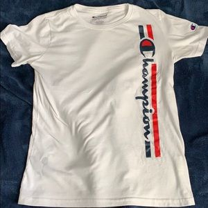 White Champion Tee Youth Boys Large